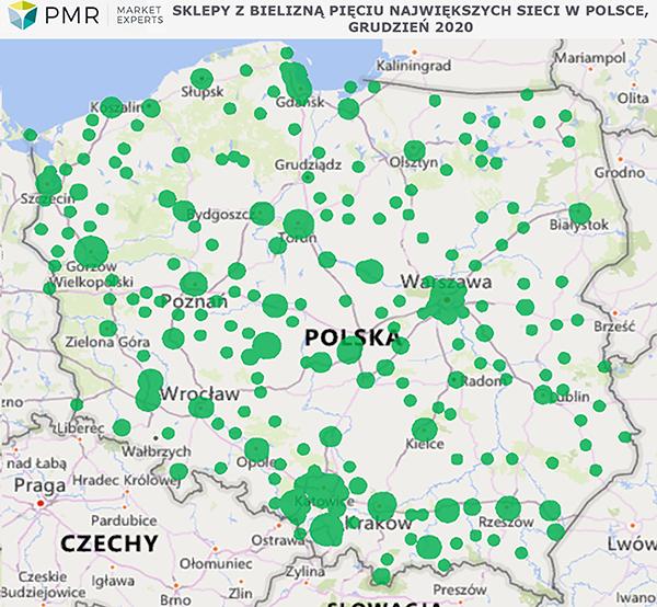 sklepy z bielizną w Polsce mapka