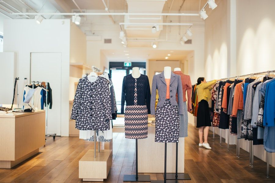 Clothes on mannequins