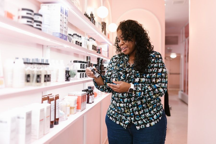 A woman in a drugstore