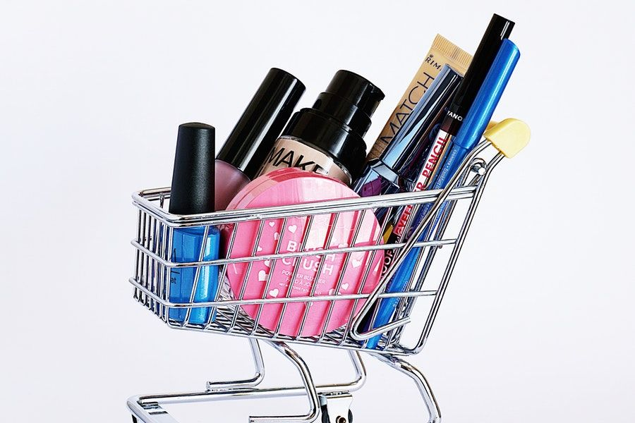 cosmetics in the basket